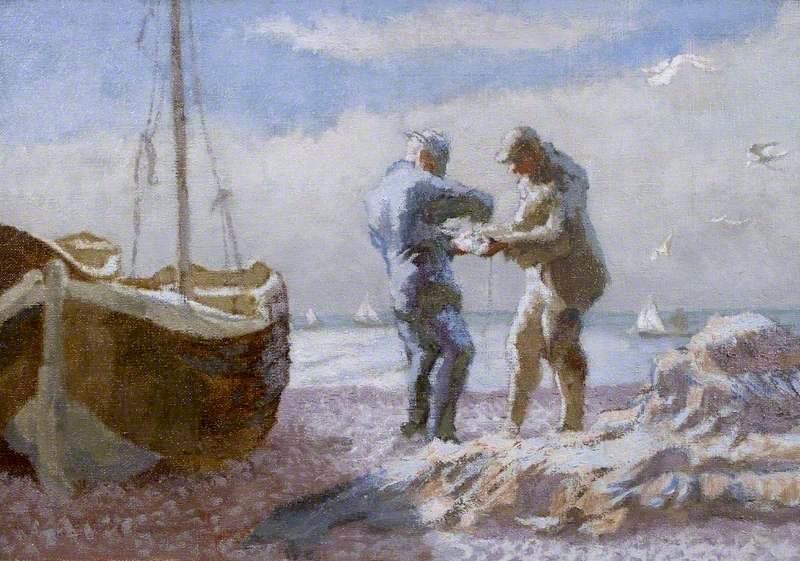 Brighton Fishermen   Therese Lessore   oil painting