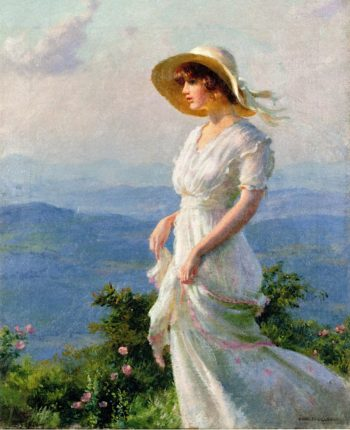 Woman with a Straw Hat | Charles Courtney Curran | oil painting