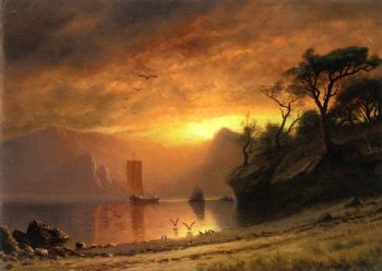 Lake in Moonlight | Albert Bierstadt | oil painting