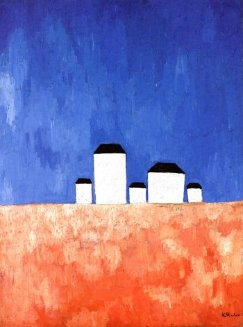 Landscape with Five Houses | Kasimir Malevich | oil painting
