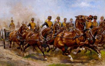 A Battery of the Royal Horse Artillery Galloping to a Fresh Position | Harry Payne | oil painting