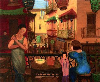 Chinatown Balcony | Glenn O. Coleman | oil painting