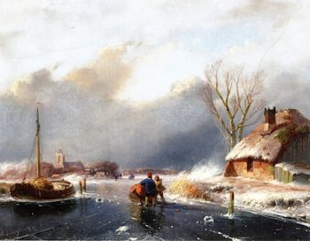 A Winter Landscape with Figures on the Ice | Andreas Schelfhout | oil painting