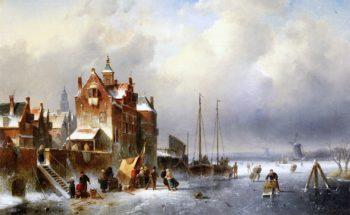 A Koek - en - zopie on a Frozen Waterway near a Dutch Town | Charles Henri Joseph Leickert | oil painting