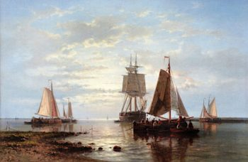 Ships in a Calm | Abraham Hulk | oil painting