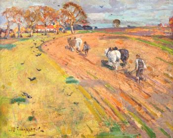 Ploughing the Ministers Glebe | John Reid Murray | oil painting