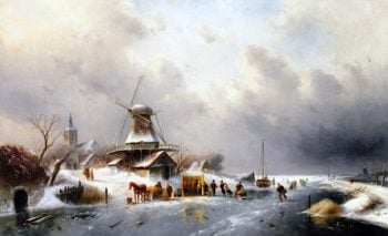 A Winter Landscape with Skaters on the Ice and a Koek - en - zopie | Charles Henri Joseph Leickert | oil painting