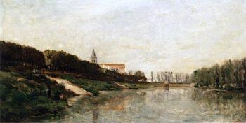 La terrasse dAndrésy | Charles-Francois Daubigny | oil painting