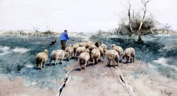 A Shepherd with His Flock on the Heath | Anton Mauve | oil painting