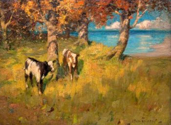 Landscape with Two Calves and a Lake | John Reid Murray | oil painting