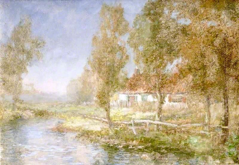 Cottage and Stream   John Falconer Slater   oil painting