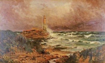 St Marys Lighthouse | John Falconer Slater | oil painting