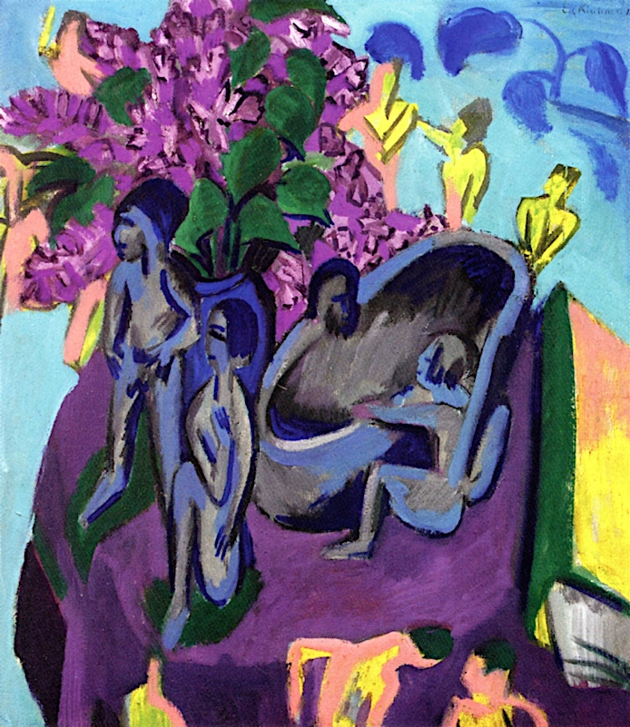 Still Life with Sculptures and Flowers | Ernst Ludwig Kirchner | oil painting