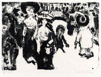 Street Life in Dresden | Ernst Ludwig Kirchner | oil painting