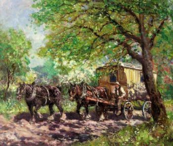 Two Horses and a Caravan | John Falconer Slater | oil painting