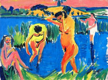 Four Bathers | Ernst Ludwig Kirchner | oil painting