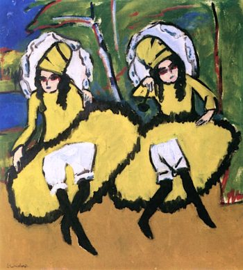 Two Dancing Girls | Ernst Ludwig Kirchner | oil painting
