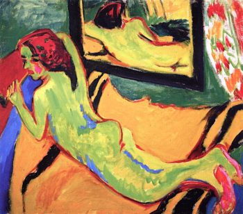 Reclining Nude in Front of a Mirror | Ernst Ludwig Kirchner | oil painting
