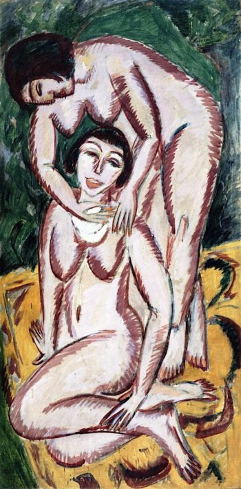 Two Female Nudes in Vertical Format | Ernst Ludwig Kirchner | oil painting