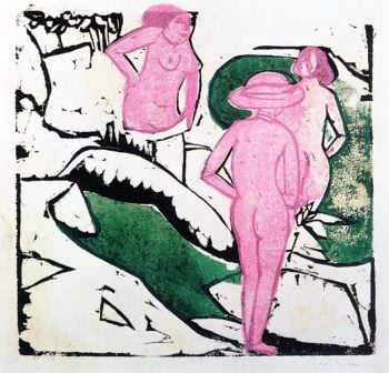 Women Bathing between White Rocks