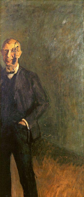 Fragment of a Full - Length Self - Portrait Laughing | Richard Gerstl | oil painting