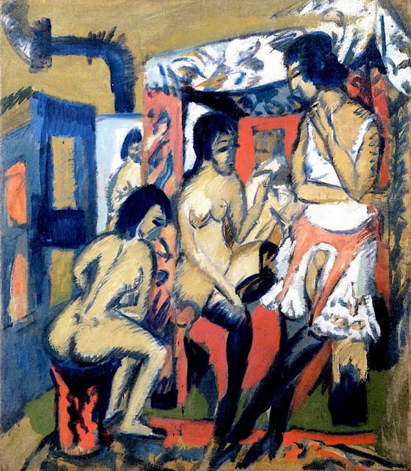 Nudes in the Studio | Ernst Ludwig Kirchner | oil painting