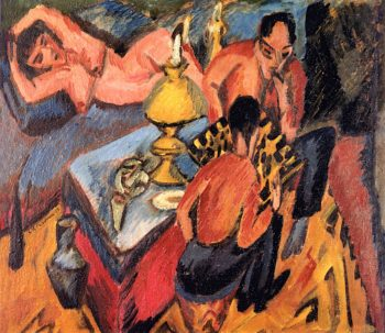 Erich Henkel and Otto Mueller Playing Chess | Ernst Ludwig Kirchner | oil painting
