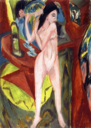 Female Nude Combing Her Hair | Ernst Ludwig Kirchner | oil painting
