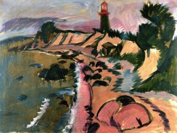 Fehmarn Coast with Lighthouse | Ernst Ludwig Kirchner | oil painting
