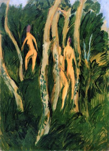 Nudes Next to the Shore Woods | Ernst Ludwig Kirchner | oil painting