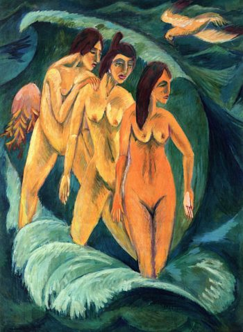 Three Bathers | Ernst Ludwig Kirchner | oil painting