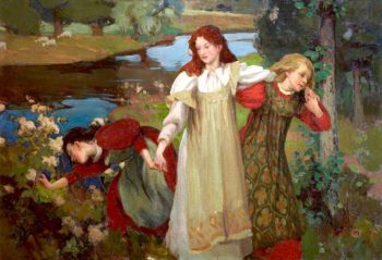 There were three maidens pud a flower (by the bonnie banks o Fordie) | Charles Hodge Mackie | oil painting