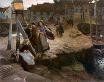 Fisher Girls Waiting for the Boats | Charles Hodge Mackie | oil painting