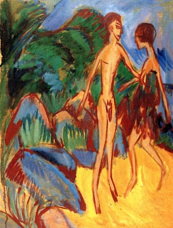 Nude Youth and Girl on the Beach | Ernst Ludwig Kirchner | oil painting