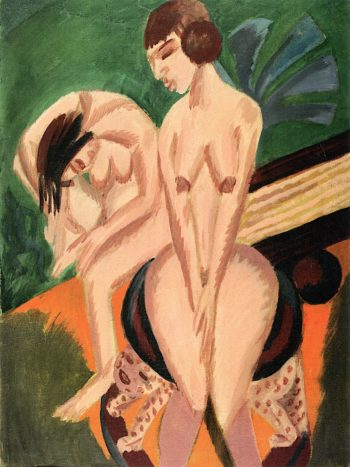 Two Female Nudes in a Room | Ernst Ludwig Kirchner | oil painting