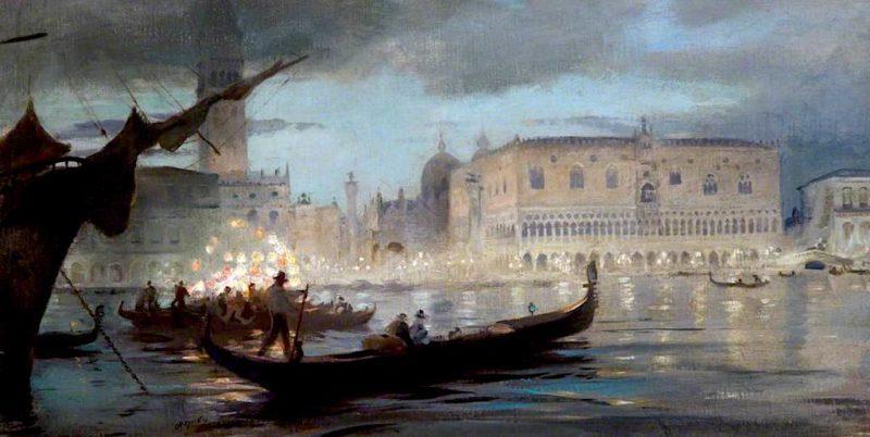 La musica veneziana   Charles Hodge Mackie   oil painting