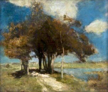 Landscape with Sheep under Trees | Charles Hodge Mackie | oil painting