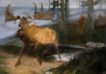 Hunting the Irish Elk | John Sydney Steel | oil painting