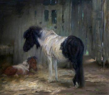 Shetland Mare and Foal | John Sydney Steel | oil painting