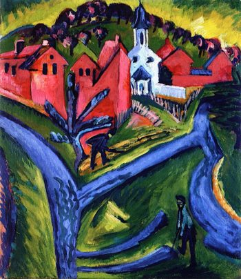 Village with Blue Paths | Ernst Ludwig Kirchner | oil painting