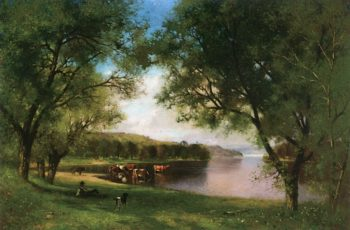 Resting along the Side of the River | Alfred Cornelius Howland | oil painting