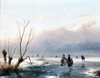 Winter Landscape with Skaters on the Ice | Andreas Schelfhout | oil painting