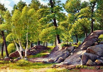Rocks and Birch Trees in Sunlight | Charles Edwin Dallin | oil painting