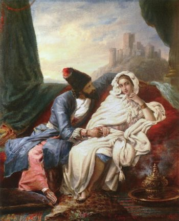 Beautiful Eastern Woman and a Cossack | Alexandre-Marie Colin | oil painting