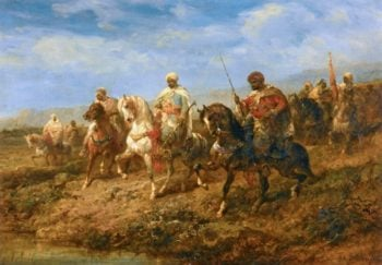 Advancing Cavalrymen | Adolf Christian Schreyer | oil painting