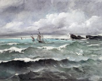 Sailboats near the Reefs   Camille Martin   oil painting