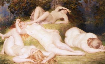 Bacchantes Sleeping   Auguste Leveque   oil painting