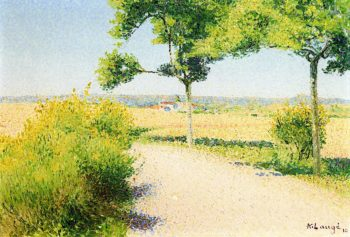 Road Bordered by Broom Flowers by Cailhau | Achille Lauge | oil painting