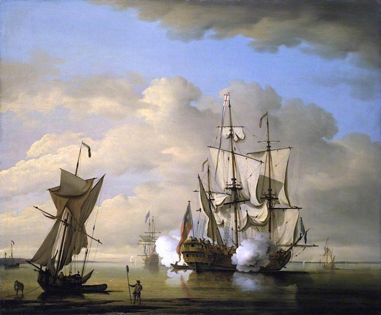 A Man - of - War Firing a Gun at Sundown | Peter Monamy | oil painting