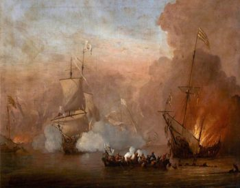 A Naval Engagement between an English Ship and Barbary Ships (after Willem van de Velde II) | Peter Monamy | oil painting